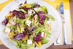 Vegetarian salad with beetroot in the restaurant stock photos