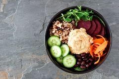 Vegetarian salad bowl on a slate background Royalty Free Stock Images