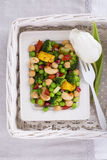 Vegetarian salad with cheese. Vegetarian spring oriental salad with cheese paneer view from above Stock Image