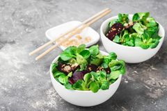 Vegetarian salad fresh raw beet vegetables and young shoots lettuce leaves served white ceramic bowl gray background. royalty free stock photography