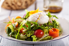 Vegetarian Salad with Poached Egg Stock Photos