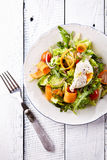 Vegetarian Salad with Poached Egg Royalty Free Stock Images