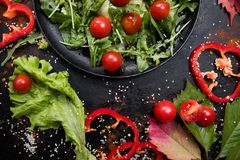 Vegetarian salad proper nutrition cellulose. Vegetarian salad proper nutrition concept. hard diet lifestyle. specially for cellulose fans royalty free stock photos