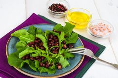 Vegetarian salad of red beans and arugula royalty free stock images