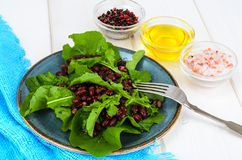 Vegetarian salad of red beans and arugula stock photos