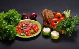 Vegetarian salad with sauce Stock Images