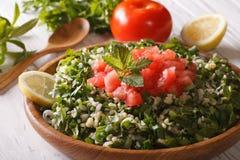 Vegetarian salad Tabbouleh closeup and ingredients. Horizontal Royalty Free Stock Photos