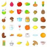 Vegetarian sale icons set, cartoon style Stock Image