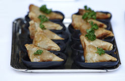 Vegetarian Samosas with Dipping Sauces Stock Photography