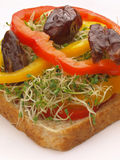 Vegetarian sandwich. Close up of delicious vegetarian sandwich Stock Photography