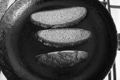 Vegetarian sandwich on breakfast. Appetizing  black dry rye bread cut on slices preapre for cook lunch Royalty Free Stock Photography
