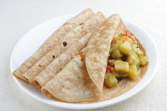 Vegetarian sandwich,. Chapati with cooked vegetables Royalty Free Stock Photography