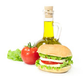 Vegetarian  sandwich with cheese, tomato and lettuce Stock Photo