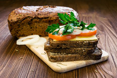 Vegetarian sandwich with cheese and tomatoes Stock Photos