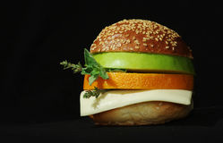 Vegetarian sandwich with orange Stock Photos