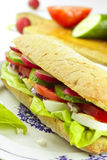 Vegetarian sandwich on plate. And vegetables on cutting board in the background Stock Photo