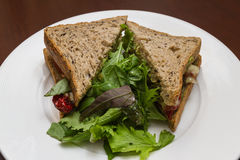 Vegetarian sandwich served with a side salad Stock Photography