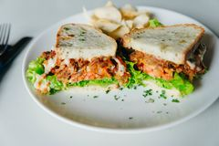 Vegetarian sandwiches with lettuce and chips stock photos