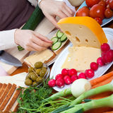 Vegetarian sandwiches preparation Stock Images