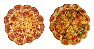 Vegetarian and sausage pizzas Stock Photography