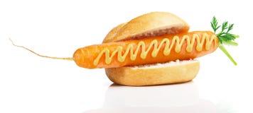 Vegetarian Sausage Symbol Bun with Mustard stock photos