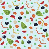 Vegetarian seamless pattern with carrot, tomato, radish, green peas, pepper, salad leaves, olive. Colorful modern background Royalty Free Stock Photo