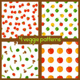 Vegetarian seamless patterns. Healthy lifestyle. Veggie backgrounds with fruits, vegetables, berries and mushrooms. Royalty Free Stock Photos