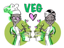 Vegan Vegetarian Senior Couple Chef-African Indian Royalty Free Stock Photography