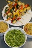 Vegetarian set. The best for grill party fresh soya salad, kuskus salad and vegetable kebab Stock Photo