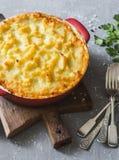 Vegetarian shepherd`s pie. Potatoes, lentils and seasonal garden vegetables casserole. Stock Photo