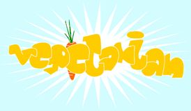 Vegetarian sign. Abstract illustration of vegetarian sign with carrot and sunburst background Royalty Free Stock Image