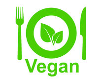 Vegetarian sign. With leaf, fork, knife and plate Royalty Free Stock Images