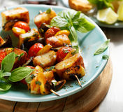 Vegetarian skewers with halloumi cheese and vegetables stock image