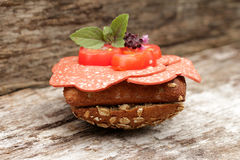 Vegetarian sliced roll Royalty Free Stock Images