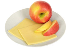 Vegetarian Snack of Fresh Ripe Juicy Apple with Cheese Stock Image