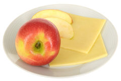 Vegetarian Snack of Fresh Ripe Juicy Apple with Cheese Stock Photo