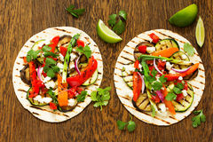 Vegetarian snack tacos. With grilled vegetables and salsa Royalty Free Stock Image