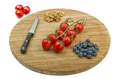 Vegetarian Snack on Wooden Cutting Board Stock Photos