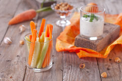 Vegetarian snack. With yoghurt, carrot and cucumber, selective focus Royalty Free Stock Photo