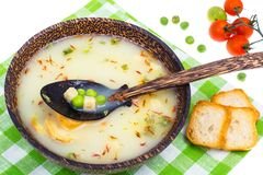 Vegetarian soup mashed potatoes with croutons Royalty Free Stock Photos
