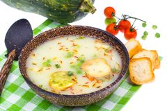 Vegetarian soup mashed potatoes with croutons Royalty Free Stock Image