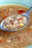 Vegetarian soup with quinoa, rice red, yellow lentils, corn, pep Stock Photos