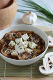 Vegetarian soup with tofu and mushrooms Royalty Free Stock Images