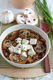 Vegetarian soup with tofu and mushrooms Royalty Free Stock Image