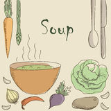 Vegetarian soup and vegetables. A healthy diet. Space for text Stock Photo