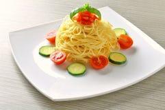 Vegetarian spaghetti Stock Photos