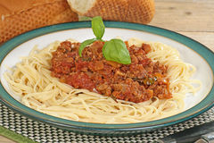 Vegetarian Spaghetti Bologniase Stock Photo