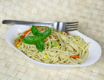 Vegetarian Spaghetti with sweetcorn and carrots Royalty Free Stock Images