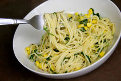 Vegetarian Spaghetti with sweetcorn and Spinach Royalty Free Stock Photos