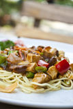 Vegetarian spaghetti in tomatoes sauce in thailand. Vegetarian food : spaghetti in tomatoes sauce with mushroom, tofu and vegetable Royalty Free Stock Images